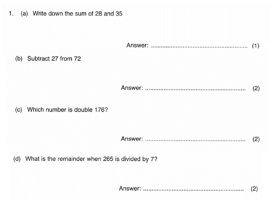 ISEB 11 Plus Maths 2009 Practice Paper Question 01