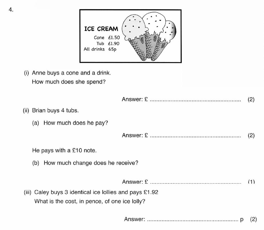 ISEB 11 Plus Maths 2009 Practice Paper Question 04