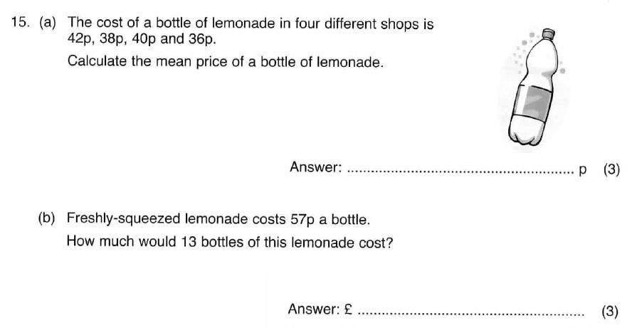 ISEB 11 Plus Maths 2009 Practice Paper Question 21