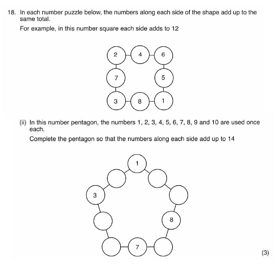ISEB 11 Plus Maths 2009 Practice Paper Question 27