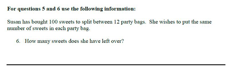 Queens' School - Maths Familiarisation Paper Question 06