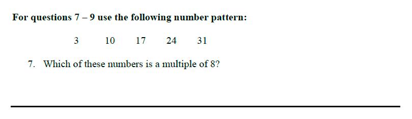 Queens' School - Maths Familiarisation Paper Question 07