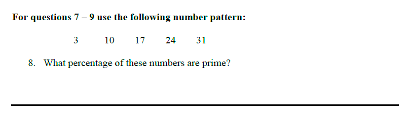Queens' School - Maths Familiarisation Paper Question 08