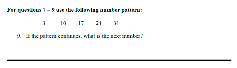 Queens' School - Maths Familiarisation Paper Question 09