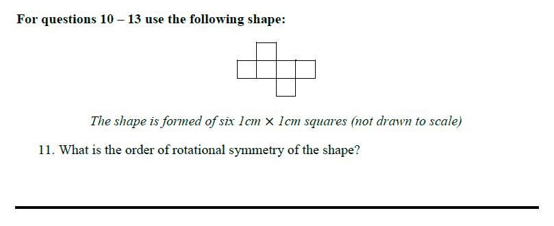 Queens' School - Maths Familiarisation Paper Question 11