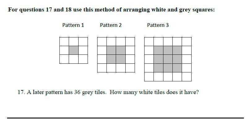 Queens' School - Maths Familiarisation Paper Question 17