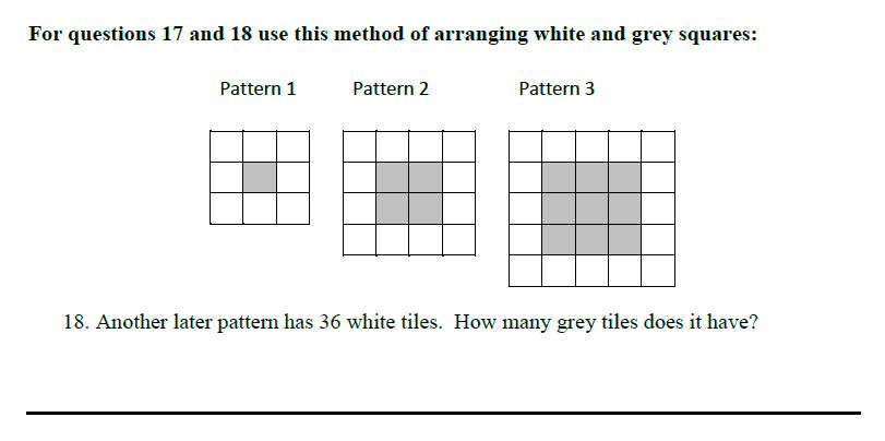 Queens' School - Maths Familiarisation Paper Question 18