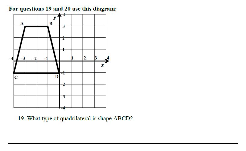 Queens' School - Maths Familiarisation Paper Question 19