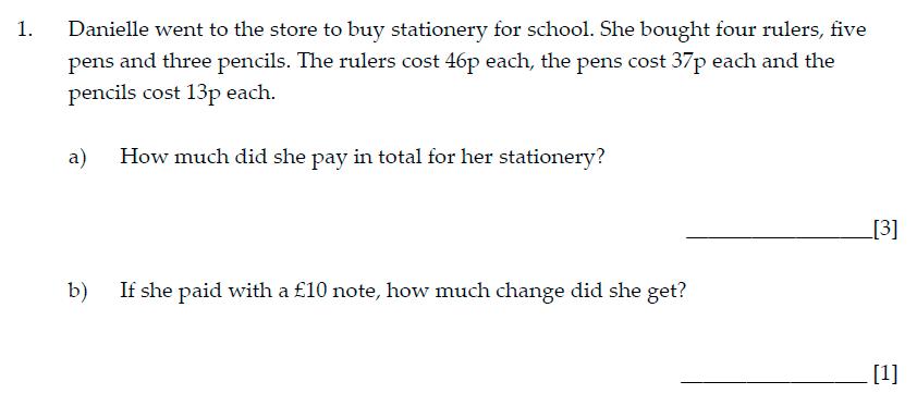 Sevenoaks School Year 7 Sample Paper 2015 Question 01