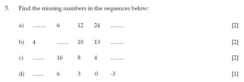 Sevenoaks School Year 7 Sample Paper 2015 Question 05