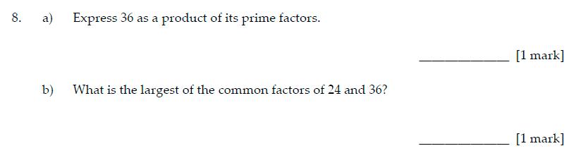 Sevenoaks School Year 7 Sample Paper 2017 Question 10