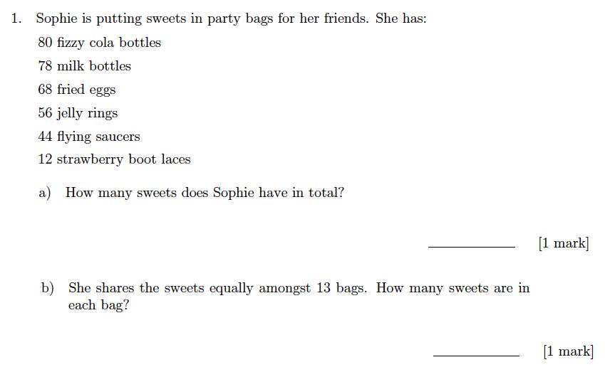 Sevenoaks School Year 7 Sample Paper 2018 Question 01