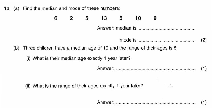 ISEB 11 Plus Maths 2008-09 Practice Paper Question 27