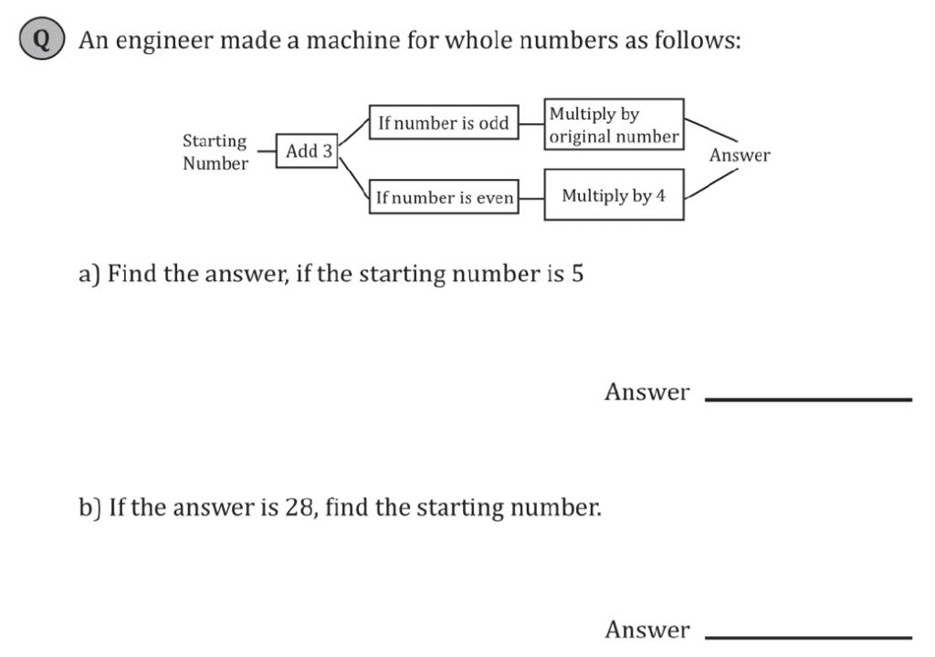 11+ Maths Challenging- Algebra - Practise Question 083 - B
