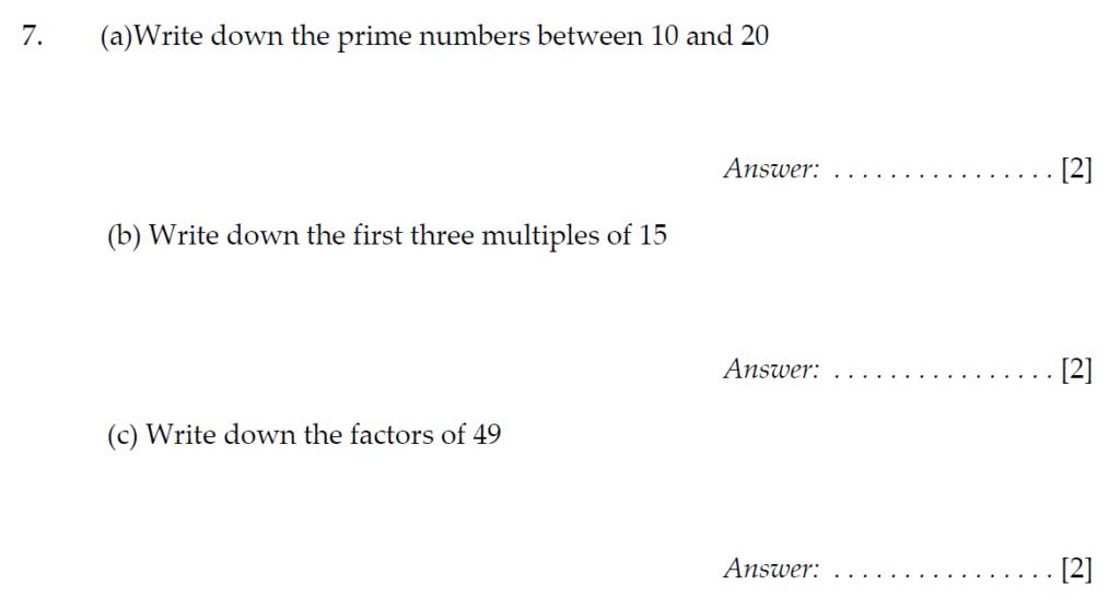 Sevenoaks School Year 7 Sample Paper 2010 Question 07