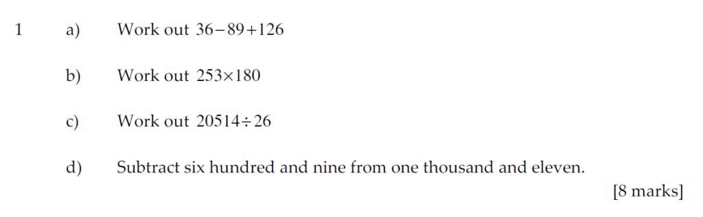 Sevenoaks School Year 7 Sample Paper 2011 Question 01