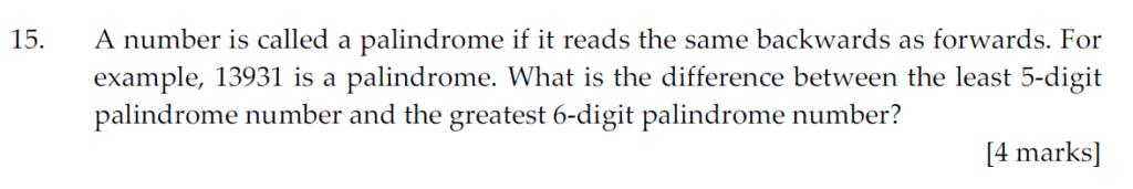Sevenoaks School Year 7 Sample Paper 2011 Question 15