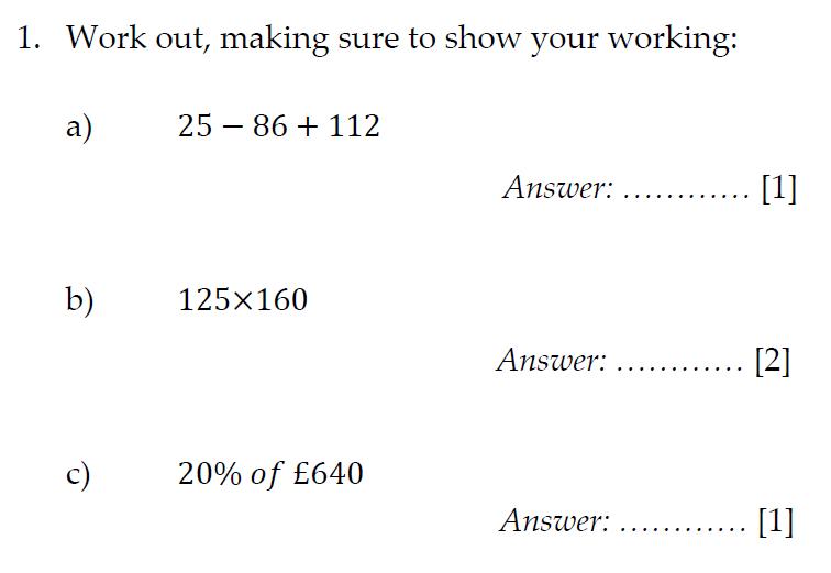 Sevenoaks School Year 7 Sample Paper 2012 Question 01