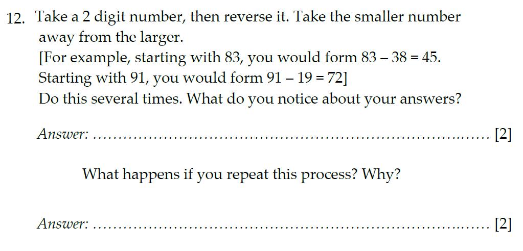 Sevenoaks School Year 7 Sample Paper 2012 Question 15