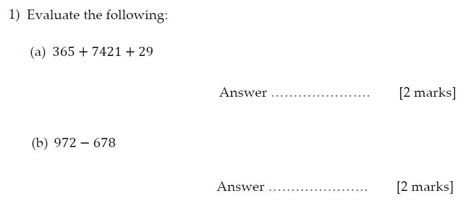 Sevenoaks School Year 7 Sample Paper 2013 Question 01