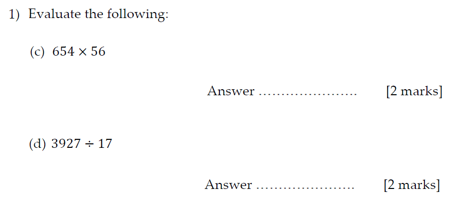 Sevenoaks School Year 7 Sample Paper 2013 Question 02