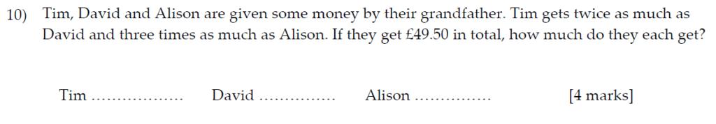Sevenoaks School Year 7 Sample Paper 2013 Question 12