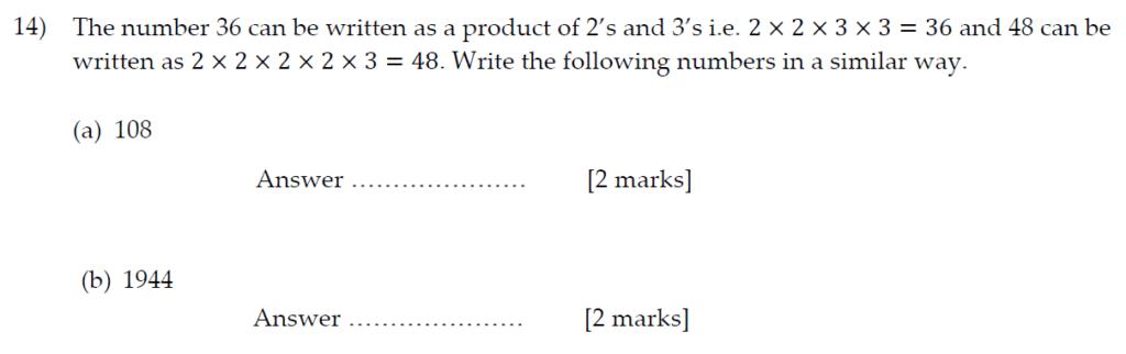 Sevenoaks School Year 7 Sample Paper 2013 Question 18