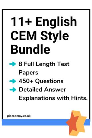 11 Plus English CEM Style Practice Papers Bundle