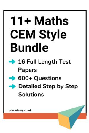 11 Plus Maths CEM Style Practice Papers Bundle