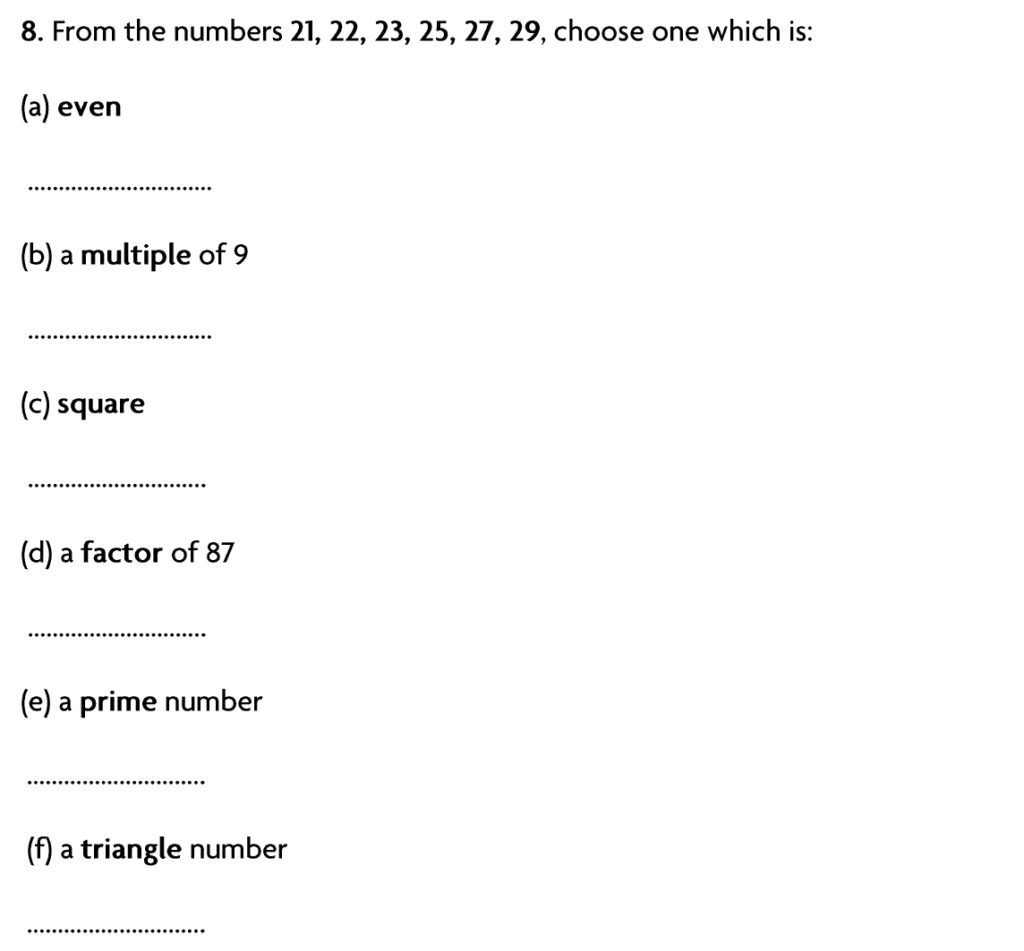 Blackheath High School Year 7 Practice Paper 2007 - Question 10
