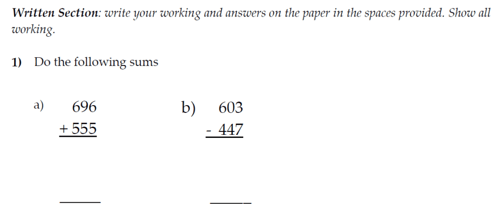 The Kings School 11 Plus Maths Entrance Examinations 2011 - Question 01