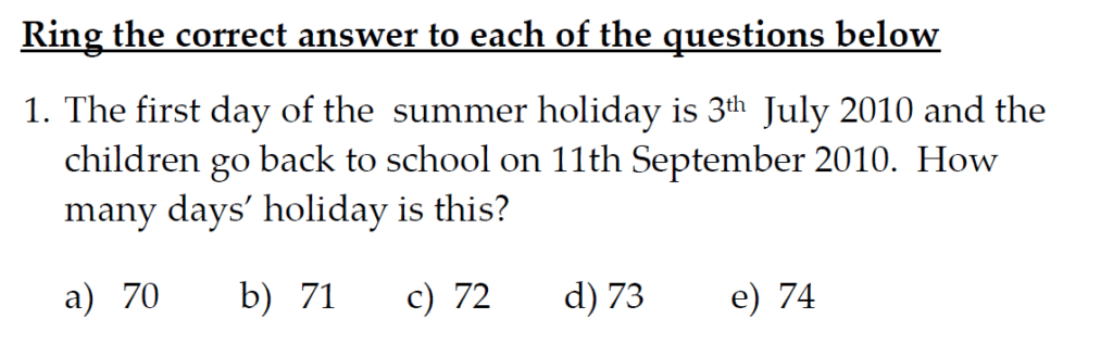 The Kings School 11 Plus Maths Entrance Examinations 2011 - Question 31