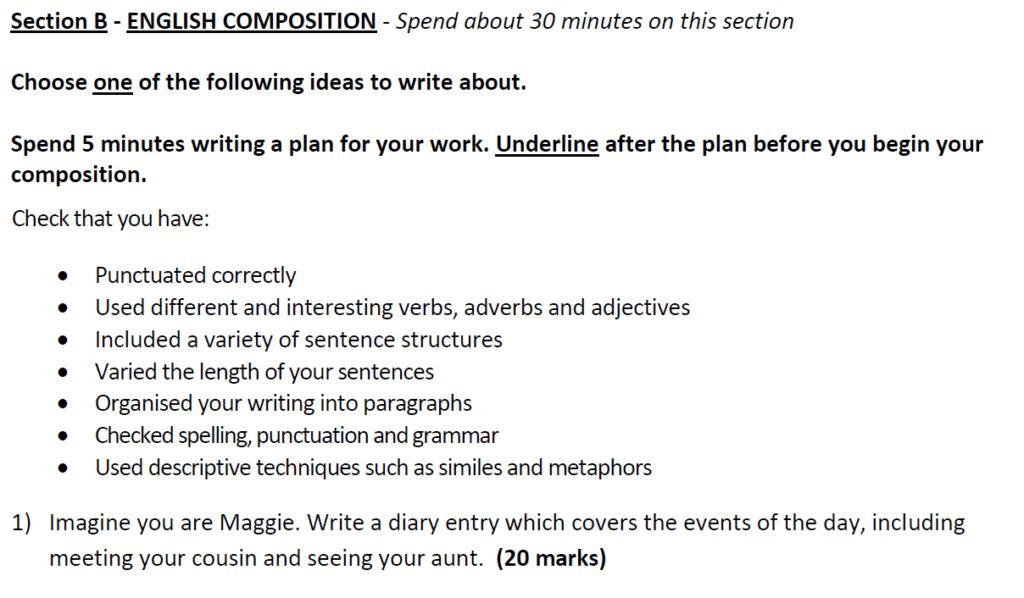Aldenham School 11 Plus English Sample Paper 2019 Creative Writing - Question 01