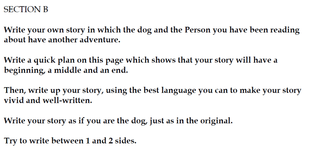 Christ's Hospital 11 Plus English Entrance Tests 2015-16 Creative Writing - Question 01