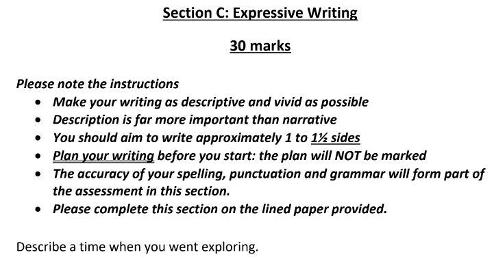 Eltham College 11 Plus English Sample Paper 2019 Creative Writing - Question 01