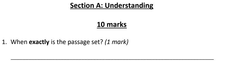 Eltham College 11 Plus English Sample Paper 2019 Part A - Question 01