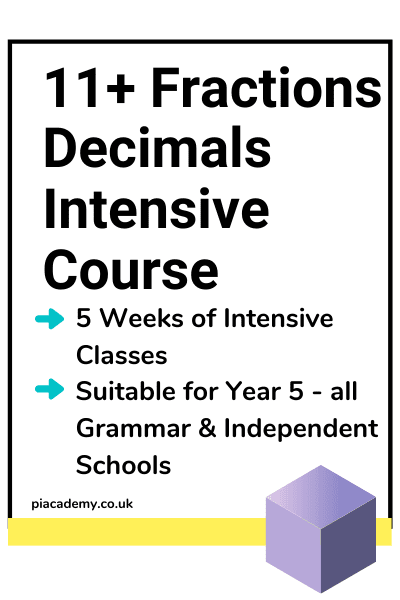 11 Plus Fractions Decimals and Percentages Intensive Course