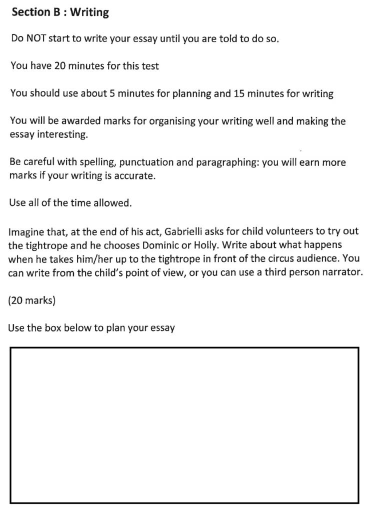 Bancrofts School 11 Plus English Sample Paper 2016 Creative Writing - Question 01