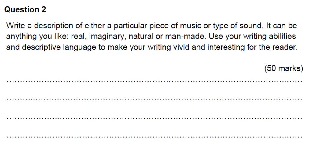 Benenden Kent 11 Plus English Scholarship Exam 2016 Creative Writing - Question 01
