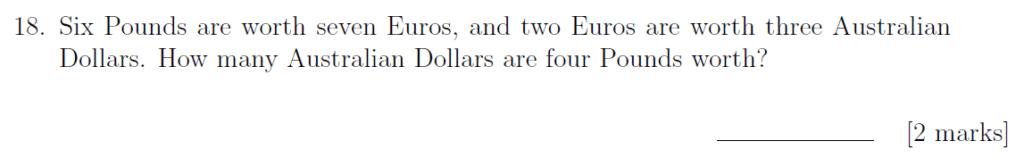 Sevenoaks School - Year 9 Maths Sample Paper 2019 Question 27