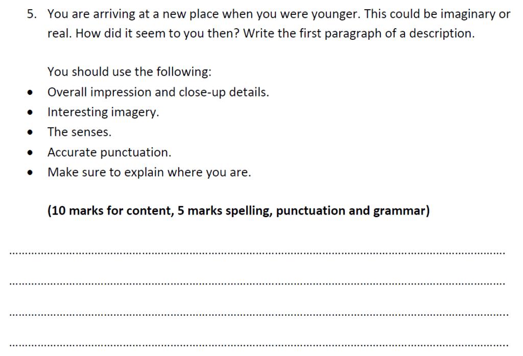 Highgate School 11 Plus English Exemplar 1 - 2020 - Creative Writing Question 01