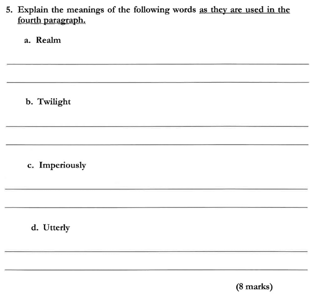 Dulwich College 11 Plus English Specimen Paper C - Question 06