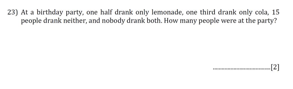 Question 26 - Reigate Grammar 2020 11+ Maths Entrance Examination