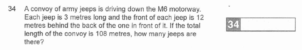 Question 34 - The Manchester Grammer School 11 Plus Entrance Examination 2007